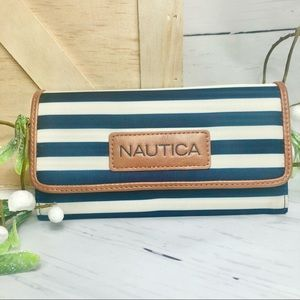 Nautica Navy Blue & White Striped Carry All Wallet